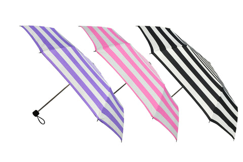 Wholesale Stripes Prints Manual Open Folding Umbrellas (6 pcs. pack) - $4.16/piece