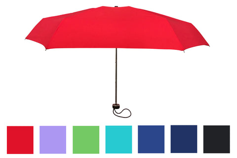 Wholesale Solid Color Lightweight Compact Folding Umbrellas (6 pcs. pack) - $4.99/piece - WholesaleUmbrellas.com