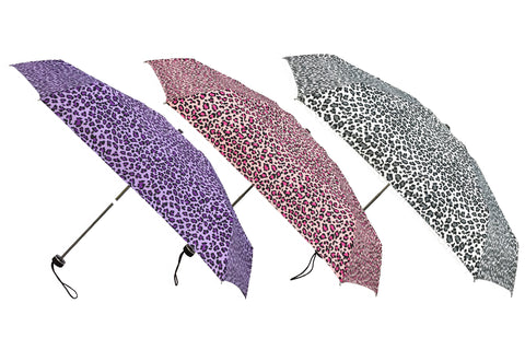 Wholesale Leopard Print Lightweight Compact Folding Umbrellas (6 pcs. pack) - $4.99/piece - WholesaleUmbrellas.com