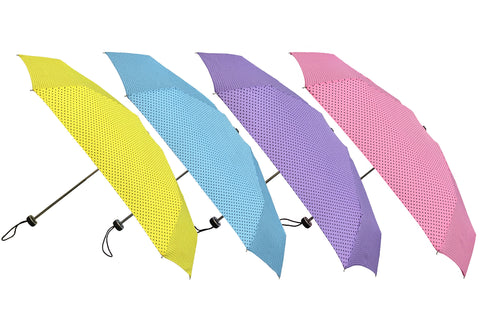 Wholesale Mini Black Dots Print Lightweight Compact Folding Umbrellas (6 pcs. pack) - $4.99/piece - WholesaleUmbrellas.com