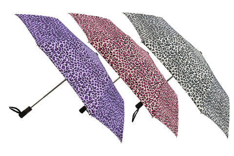 Wholesale Leopard Prints Auto Open Folding Umbrellas (6 pcs. pack)- $6.65/piece - WholesaleUmbrellas.com