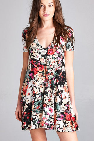 Short-sleeve Floral Dress - Affordable Urban Women's Fashion Boutique|StyleGirl  - 1