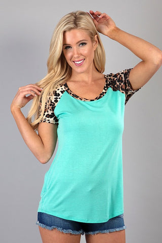 Short Sleeve Leopard Tee - Affordable Urban Women's Fashion Boutique|StyleGirl  - 1