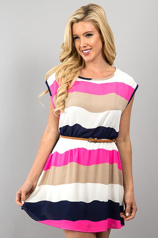 Striped Mini Dress With Braided Belt - Affordable Urban Women's Fashion Boutique|StyleGirl  - 1
