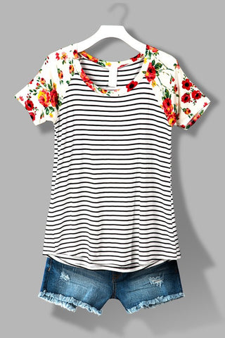 Striped Floral Tee - Affordable Urban Women's Fashion Boutique|StyleGirl  - 1