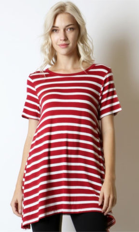 Rayon Striped Short Sleeve Tunic