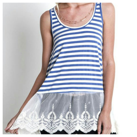 Lace Trim Striped Tank - Affordable Urban Women's Fashion Boutique|StyleGirl
