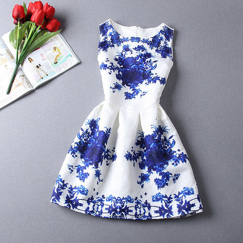 Blue Floral Party Dress - Affordable Urban Women's Fashion Boutique|StyleGirl