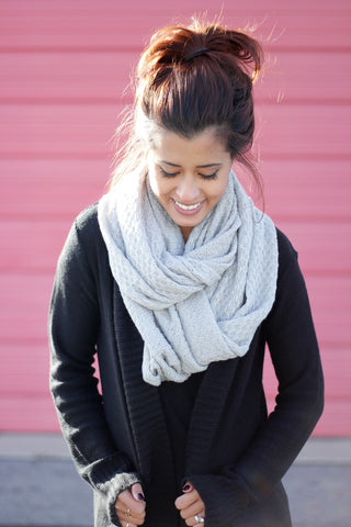 Waffle Knit Infinity Scarf - Affordable Urban Women's Fashion Boutique|StyleGirl  - 1