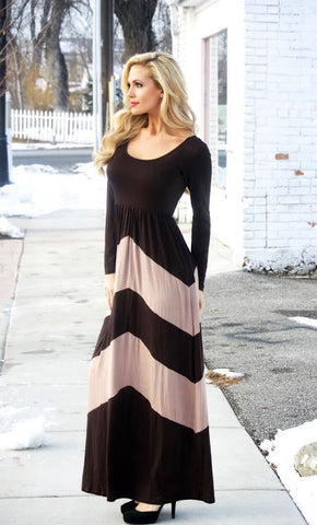 Jasmine Chevron Maxi Dress - Affordable Urban Women's Fashion Boutique|StyleGirl  - 1