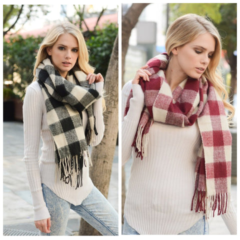 Buffalo Check Tassel Scarf - Affordable Urban Women's Fashion Boutique|StyleGirl  - 1