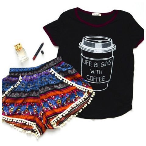 Life Begins With Coffee Tee - Affordable Urban Women's Fashion Boutique|StyleGirl  - 1