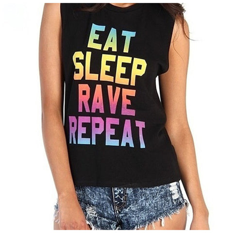 Eat Sleep Rave Repeat Tank - Affordable Urban Women's Fashion Boutique|StyleGirl  - 1