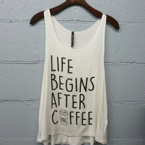 Life Begins With Coffee Tank - Affordable Urban Women's Fashion Boutique|StyleGirl
