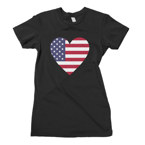 American Flag Heart Tee - Affordable Urban Women's Fashion Boutique|StyleGirl  - 1