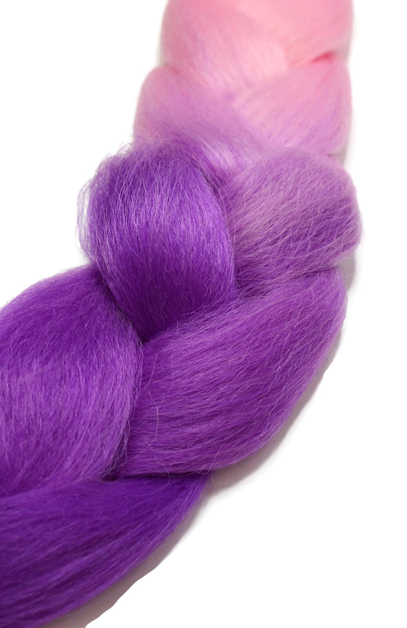 Ombre Baby Pink to Electric Purple Braiding Hair Extension - Rolita Couture