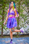 Blackout Skater Skirt with pockets - Tie Dye Purple