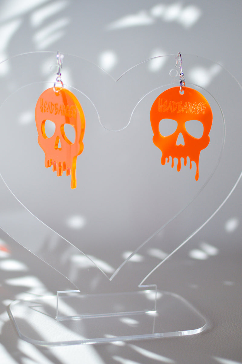 Headbanger Skull Earrings - Neon Orange