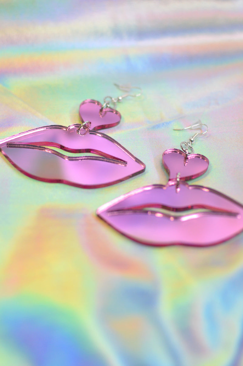 Lover Lips Earrings - Pink Mirror