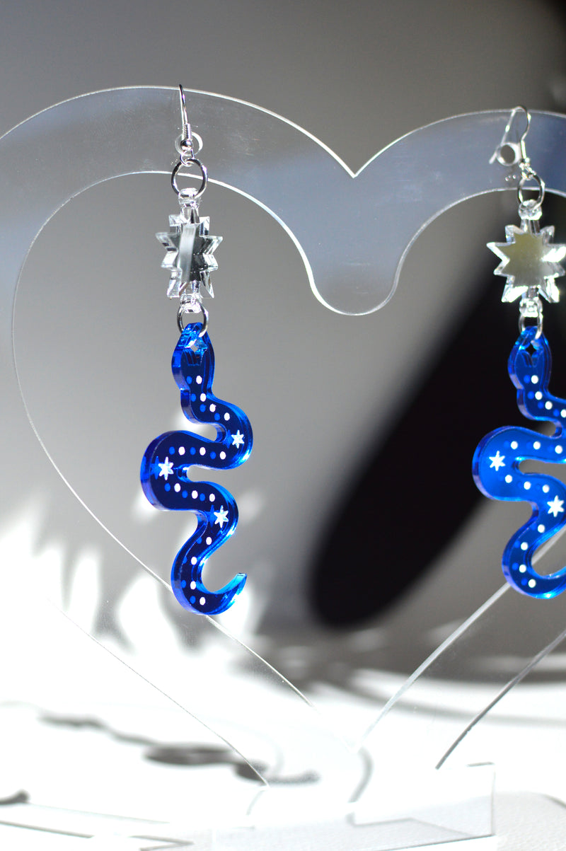 Serpent Earrings - Blue Mirror