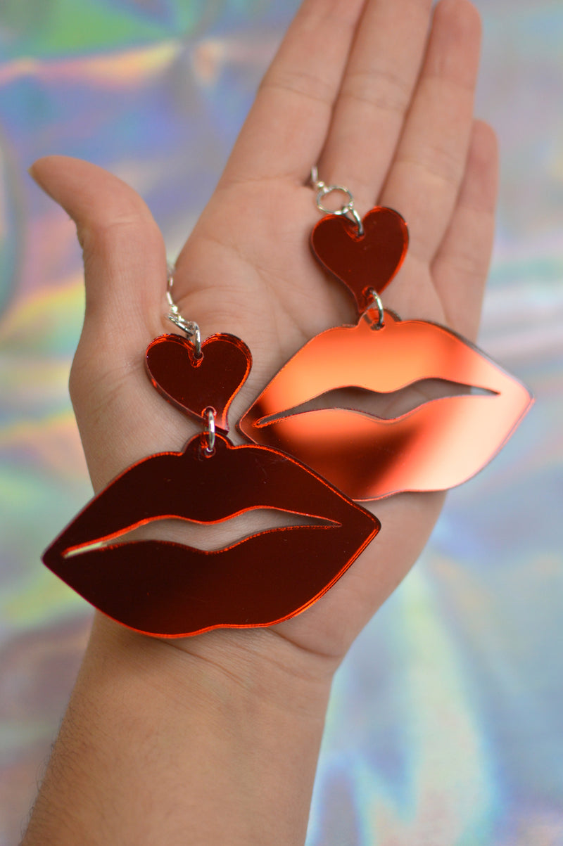 Lover Lips Earrings - Red Mirror