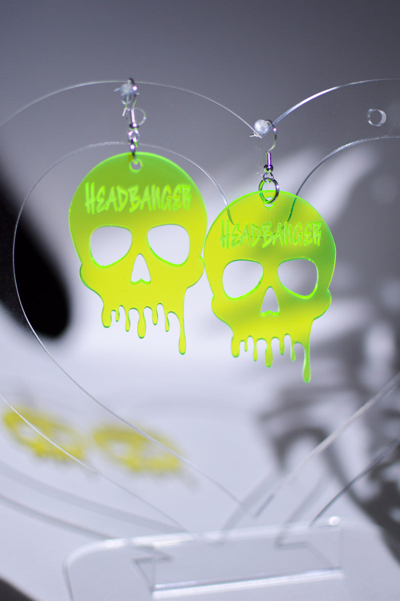Headbanger Skull Earrings - Neon Green
