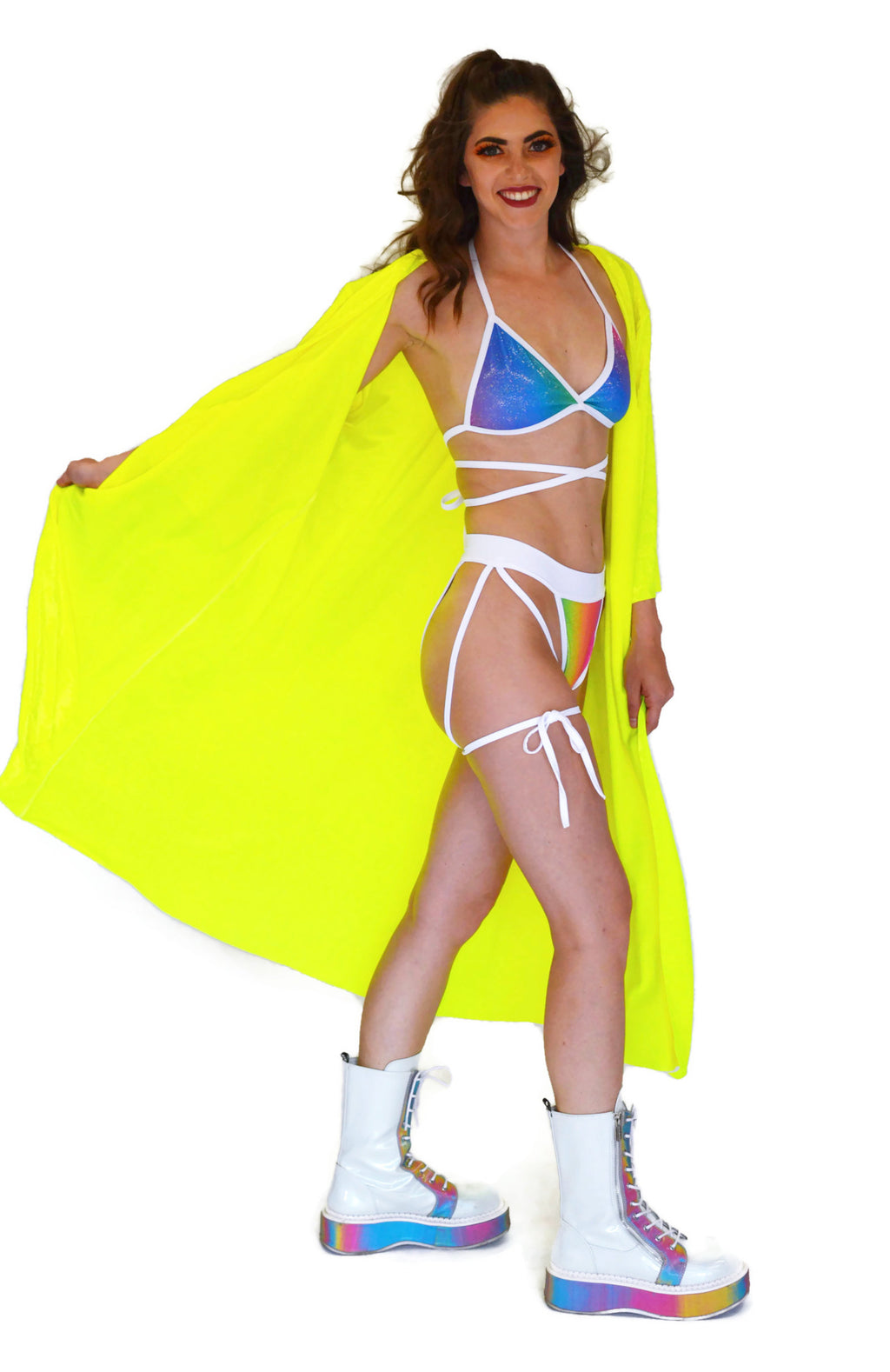 Inferno Cover Up - Neon Yellow Velvet - Rolita Couture