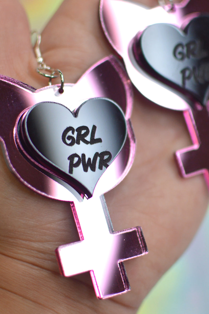 GRL PWR Earrings - Pink Mirror / Black