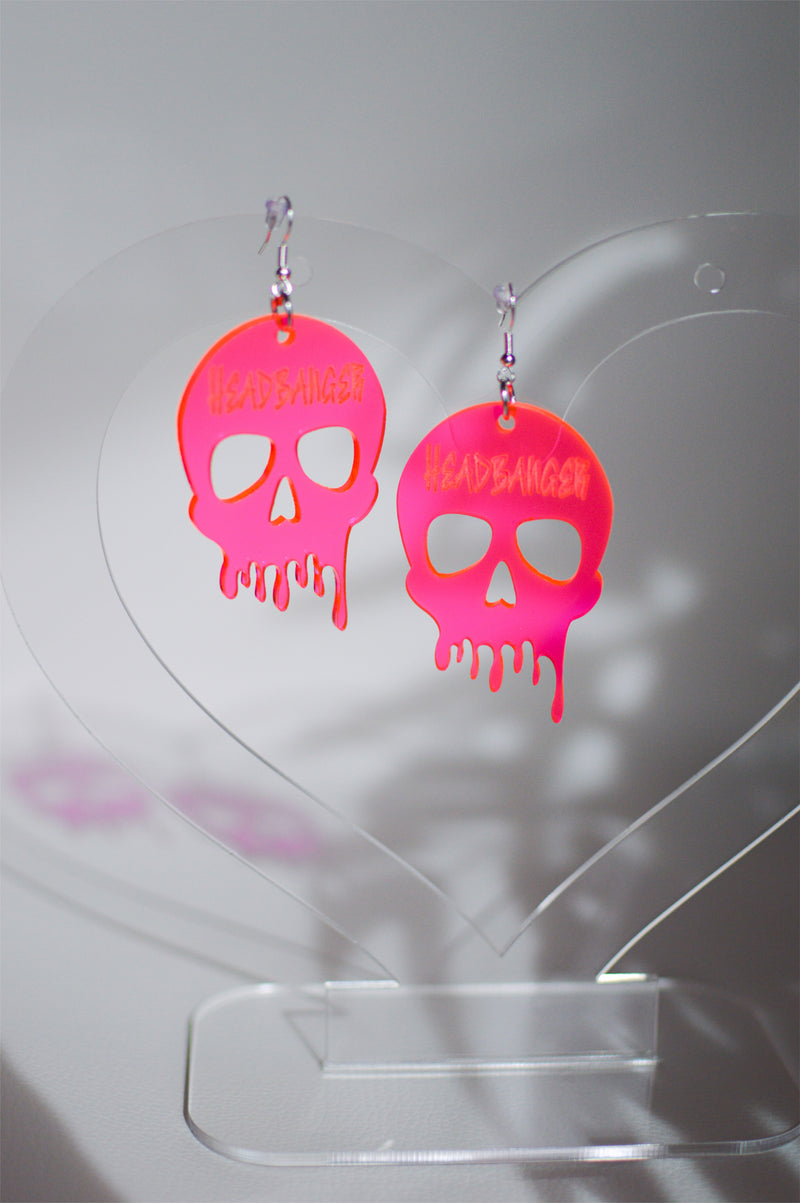 Headbanger Skull Earrings - Neon Pink