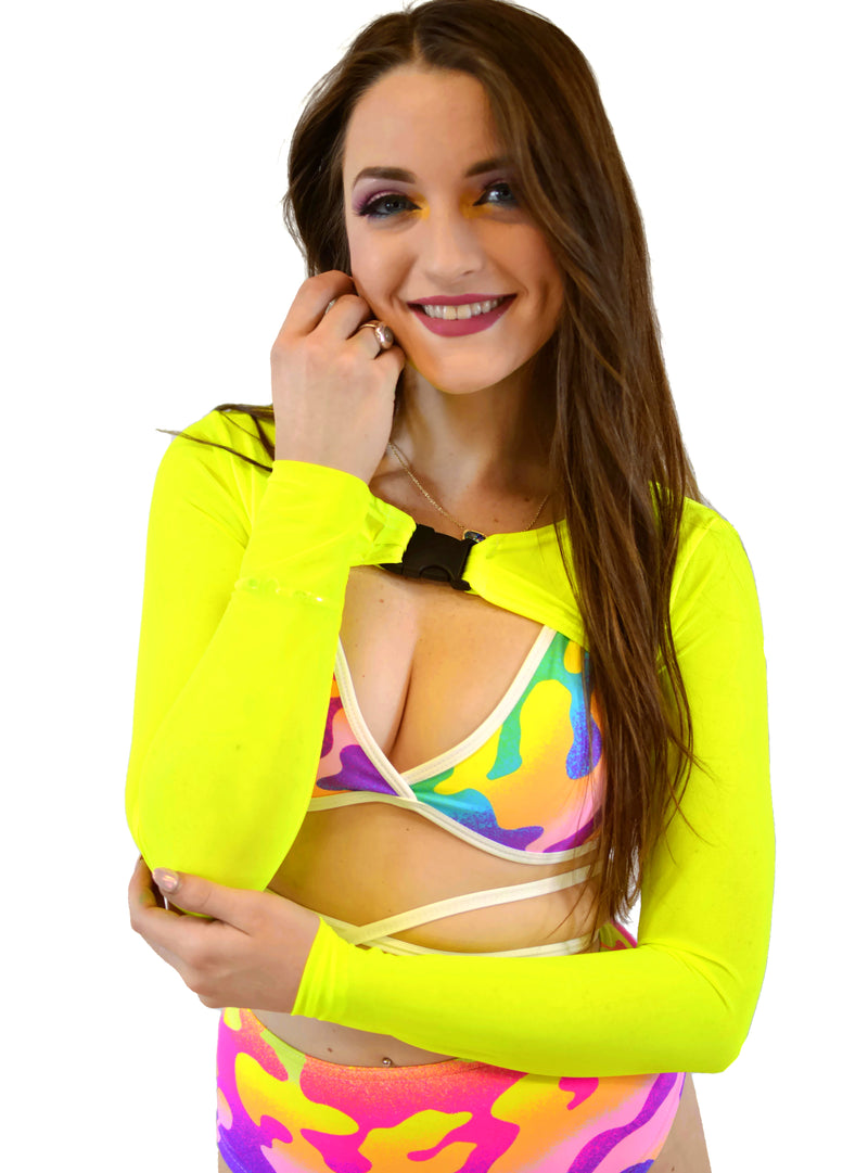 Trouble Crop Long Sleeves - Mesh Neon Yellow - Rolita Couture