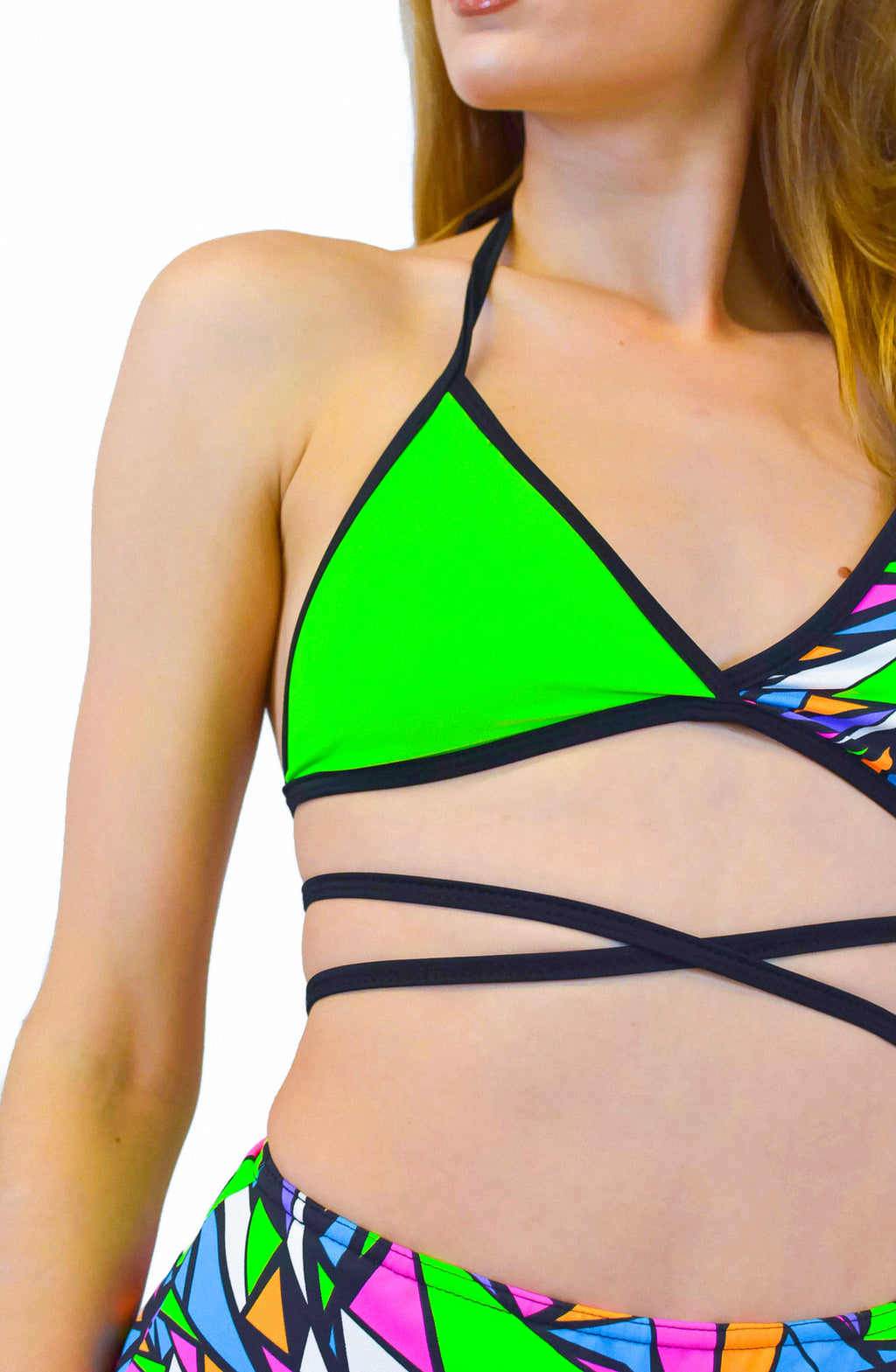 Utopia Wrap top - Green / Multi - Rolita Couture