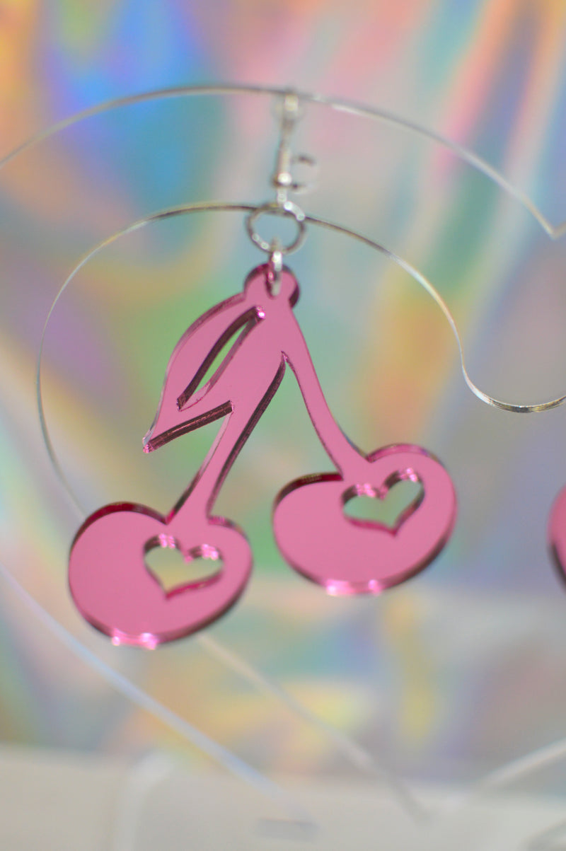 Cherry Earrings - Pink Mirror