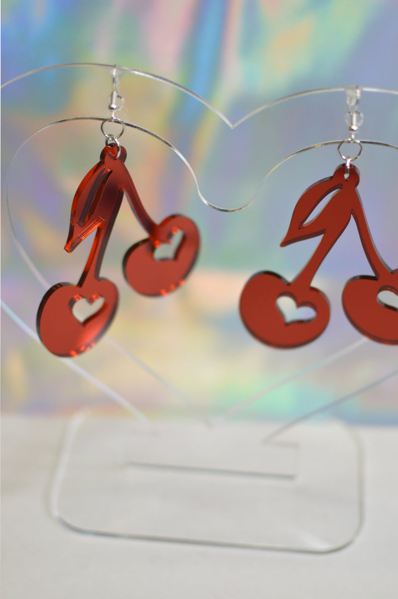 Cherry Earrings - Red Mirror