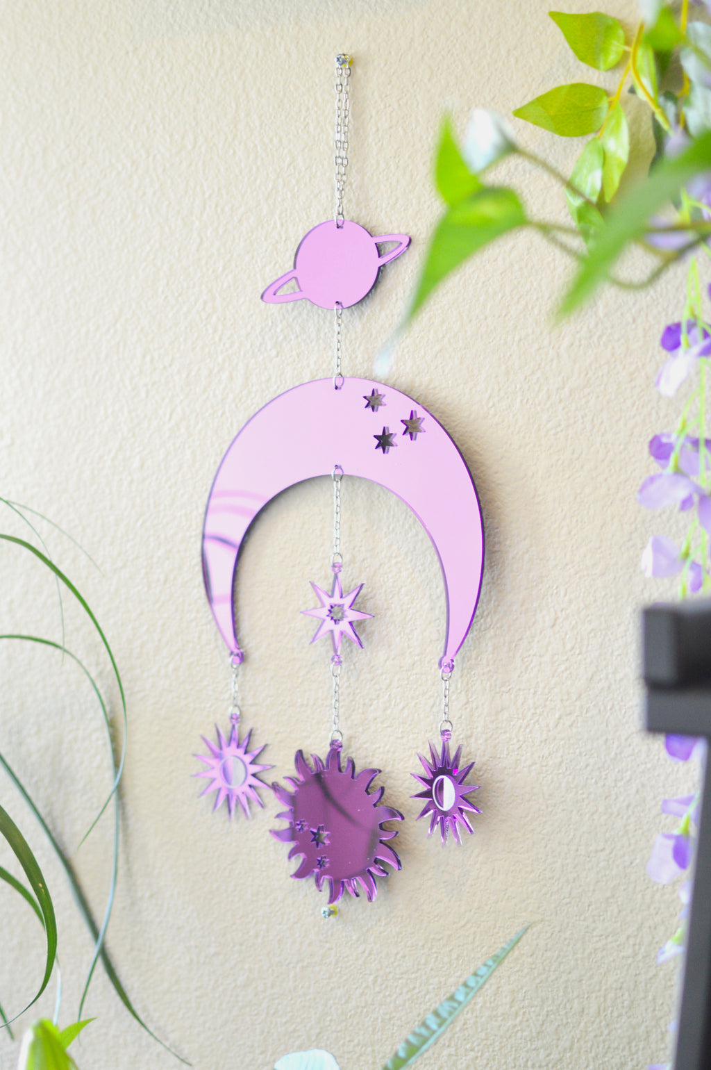 Moon & Sun Wall Hanger - Purple Mirror