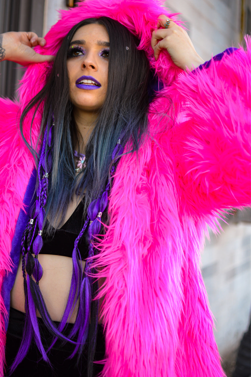 Fur Long Jacket - Pink/Purple