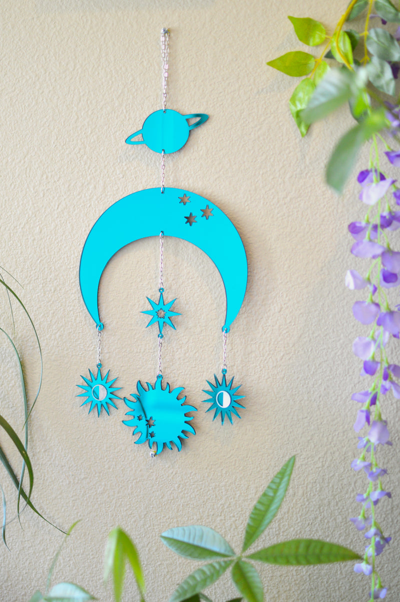 Moon & Sun Wall Hanger - Green Mirror
