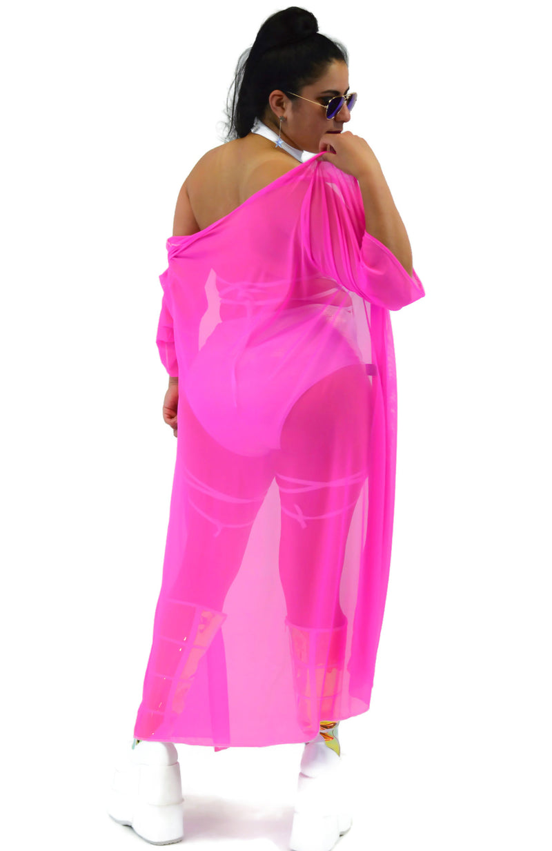 Inferno Cover Up - Mesh Neon Pink - Rolita Couture
