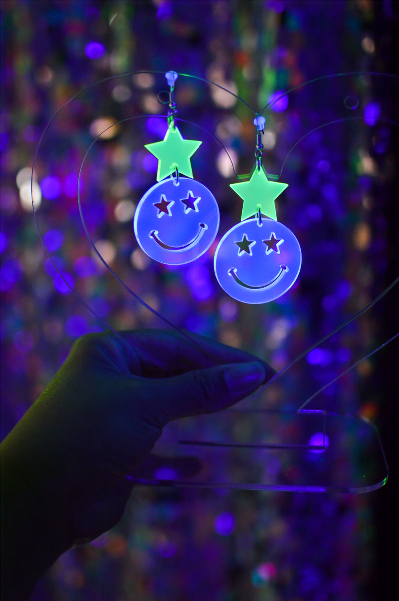Star Happy Face Earrings - Neon Blue / Green