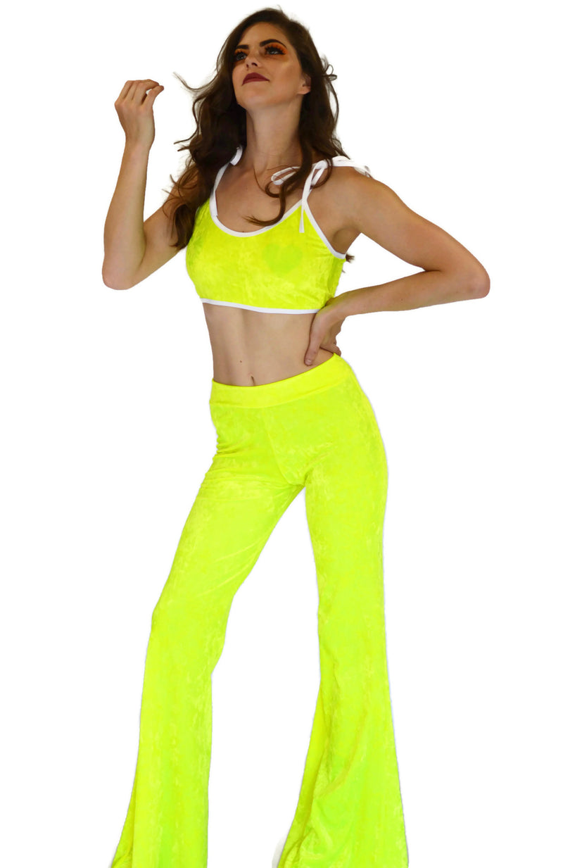 Got My Heart Top - Neon Yellow Velvet - Rolita Couture