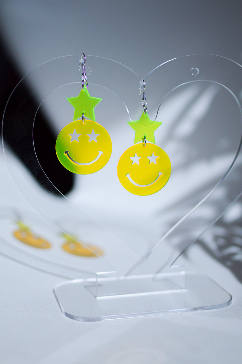 Star Happy Face Earrings - Neon Yellow / Green