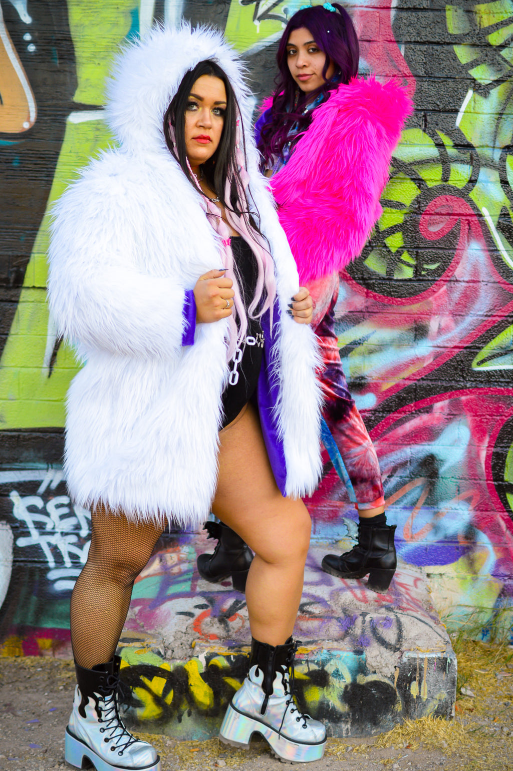 Fur Long Jacket - White/Purple
