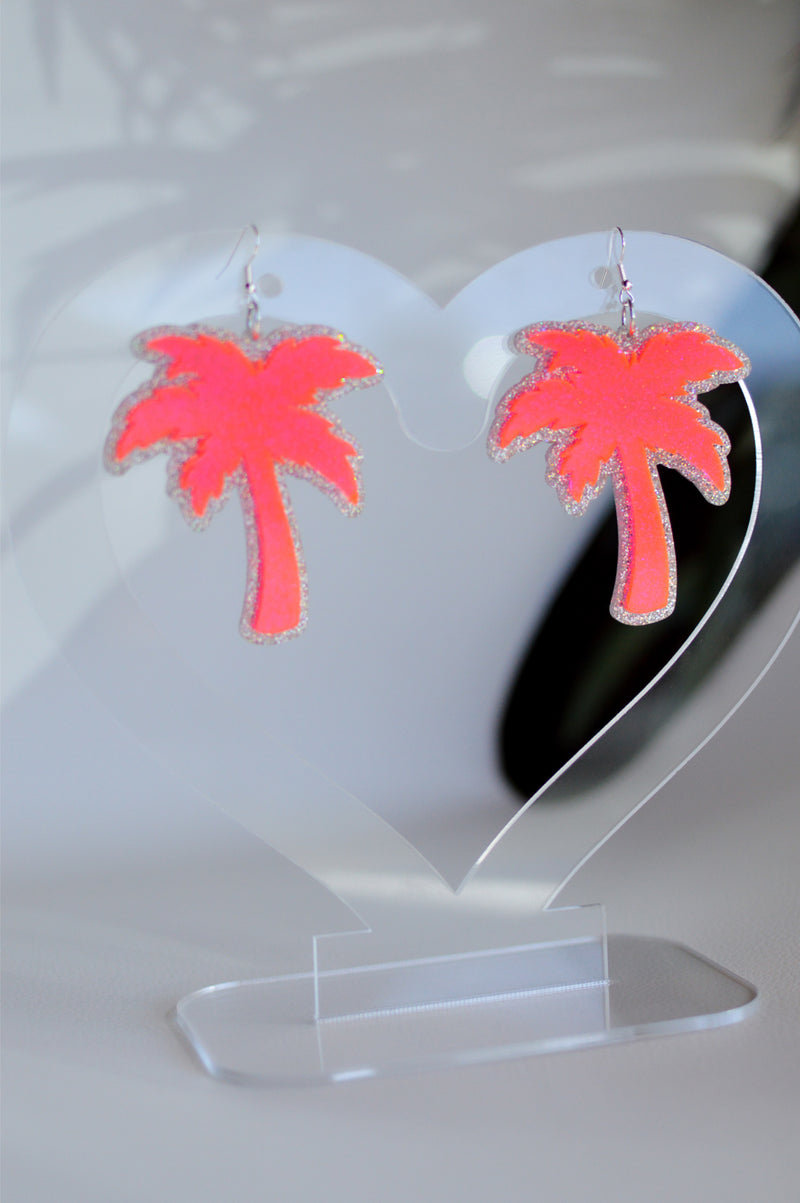 Palm Earrings - Neon Pink/Silver Glitter