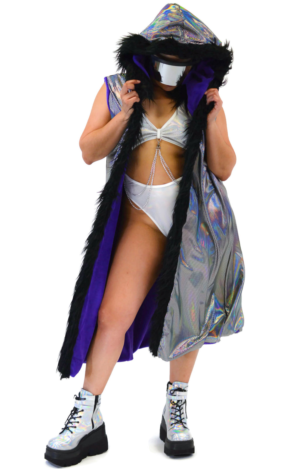 Reversible Cyber Duster - Cyber Black & Purple - Rolita Couture