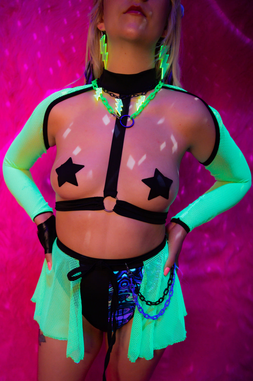 Ecstasy Harness Sleeves - Neon Green/Black