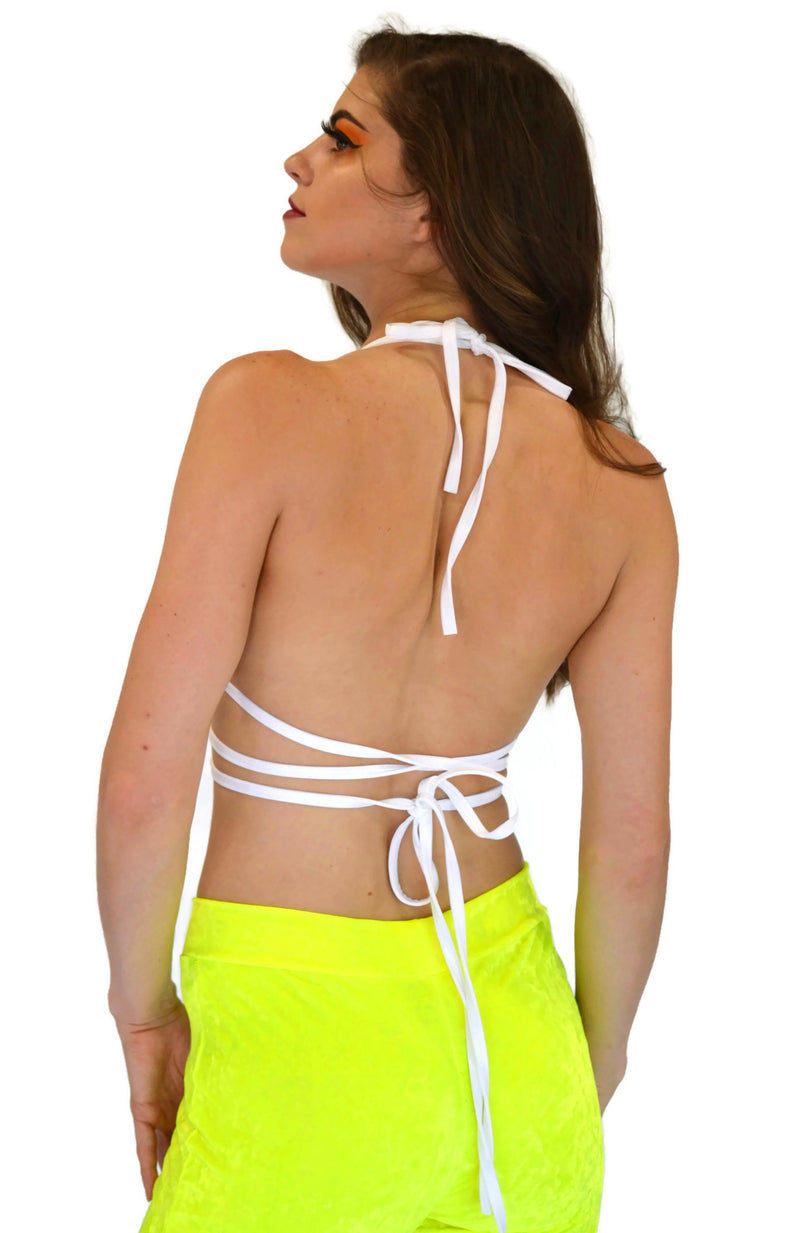 Utopia Wrap Top - Neon Yellow Velvet - Rolita Couture