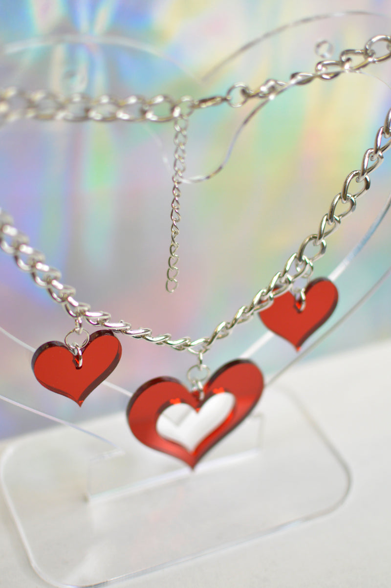 Heart Chunky Choker - Red Mirror