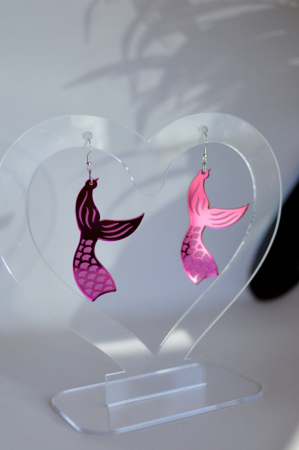 Mermaid Tail Earrings - Pink Mirror