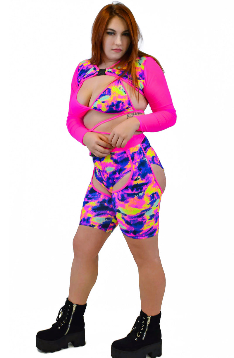 Trouble Long Sleeves - Neon Pink & Neon Sunset - Rolita Couture