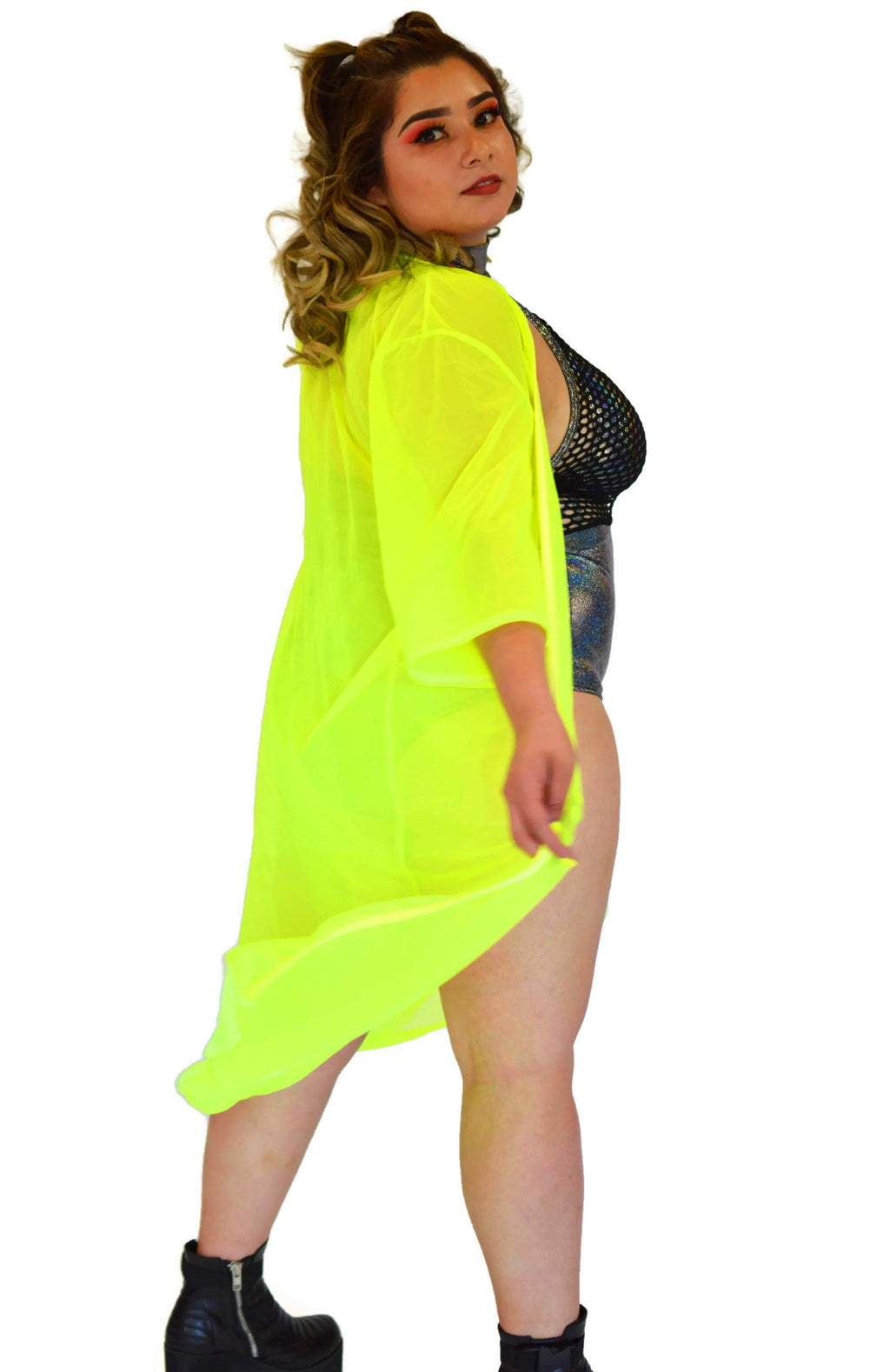 Inferno Cover Up - Mesh Neon Yellow - Rolita Couture