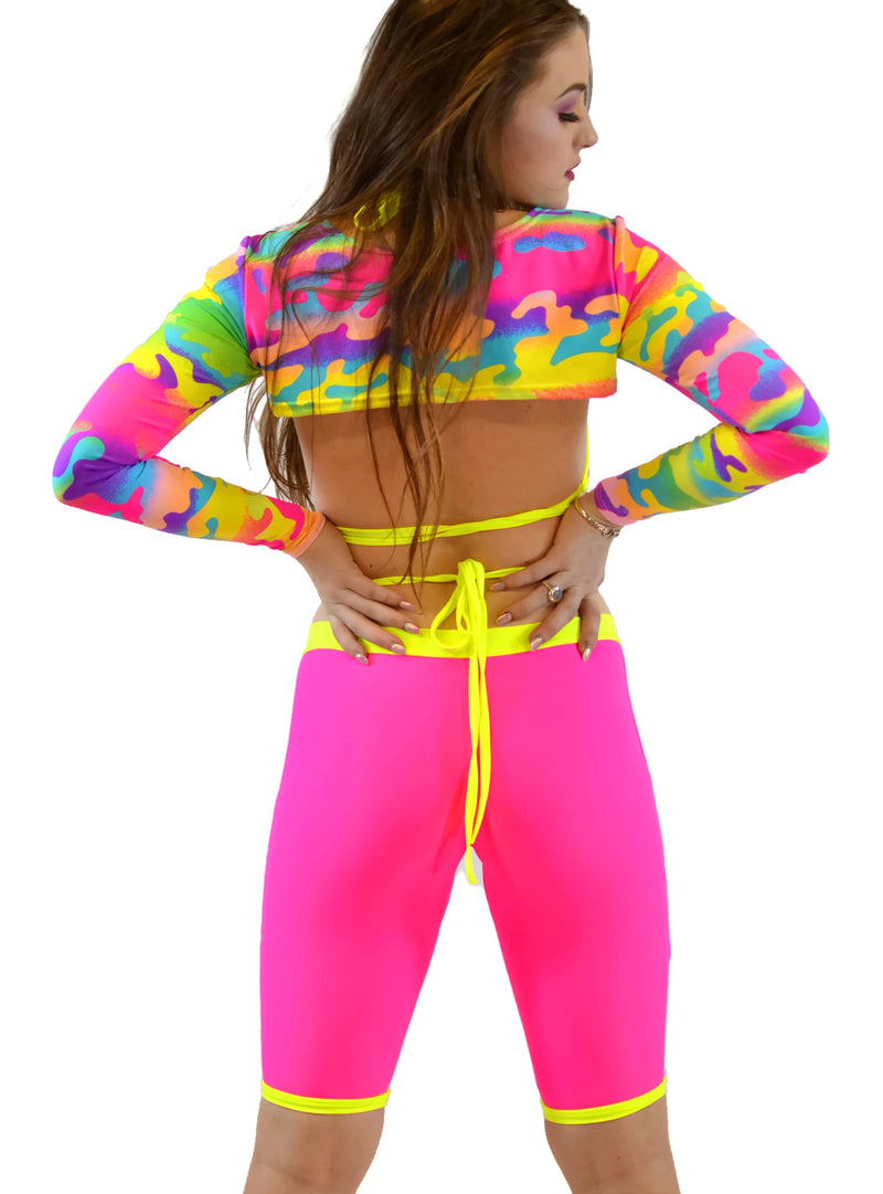 Utopia Wrap Top - Mesh Neon Pink & Yellow - Rolita Couture